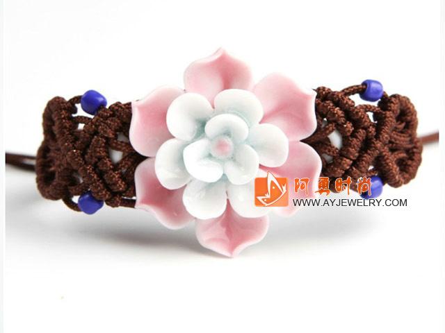 三层手捏陶瓷花编织手链