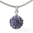 紫色水钻球项链 合金链吊坠款