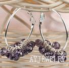 紫色切面人造水晶耳环