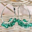 绿色切面人造水晶耳环