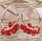 红色切面人造水晶耳环