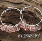肉粉色切面人造水晶耳环