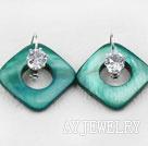 绿色贝壳水钻耳环
