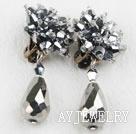 银色水晶夹式耳环
