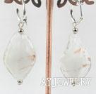 白色波浪形琉璃耳环
