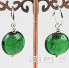 绿色扁形琉璃耳环