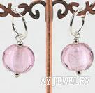 粉色扁形琉璃耳环