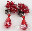 红色水晶夹式耳环