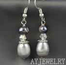 灰色珍珠水晶耳环