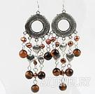 珍珠木变石耳环