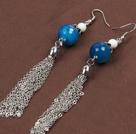 白瓷石蓝玛瑙合金链流苏耳环