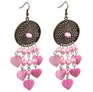 复古粉色珍珠心形贝壳长款耳环