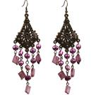复古紫色珍珠贝壳长款耳环