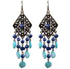 复古蓝色珍珠贝壳长款耳环