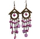 复古紫红色珍珠贝壳长款耳环