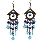 复古蓝色贝壳珍珠长款耳环