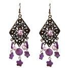 复古紫色粉色贝壳珍珠长款耳环
