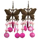 复古粉色贝壳珍珠耳环