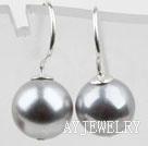 10mm灰色海贝珠耳环