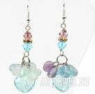 奥晶紫萤石蓝晶耳环