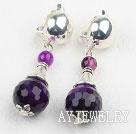 紫玛瑙夹式耳环