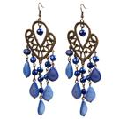 复古蓝色珍珠水滴贝壳长款耳环