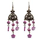 复古紫色珍珠贝壳花长款耳环