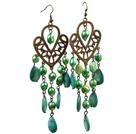 复古绿色珍珠水滴贝壳长款耳环