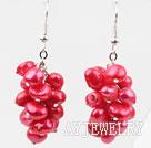 西瓜红染色珍珠耳环