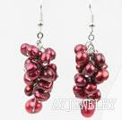 酒红色染色珍珠耳环