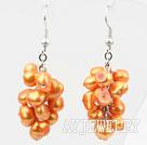 橘黄色染色珍珠耳环