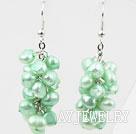 果绿色染色珍珠耳环