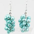 湖蓝色染色珍珠耳环