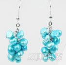 天蓝色染色珍珠耳环