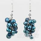 钢蓝色染色珍珠耳环