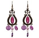紫色珍珠贝壳耳环