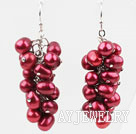 5*6mm紫红色染色珍珠耳环 葡萄簇款