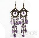 复古切面紫水晶耳环