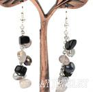 珍珠灰黑玛瑙耳环