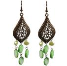 绿色珍珠贝壳耳环