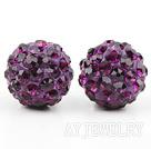 深紫色水钻球耳环 耳钉款
