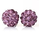 淡紫色水钻球耳环 耳钉款