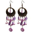 紫色珍珠贝壳复古耳环
