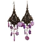 复古紫色珍珠贝壳耳环