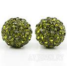 橄榄绿色水钻球耳环 耳钉款
