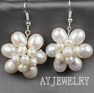 天然白珍珠花朵耳环