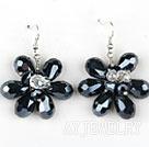 黑色水晶花朵耳环 编花款