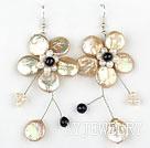 淡金色纽扣珍珠水晶花朵耳环 编花款