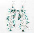 孔雀绿水晶凤尾耳环