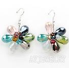 彩色水晶花朵耳环 编花款